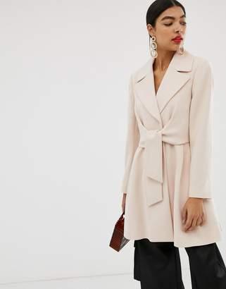 Asos Design DESIGN tie front skater coat-Pink