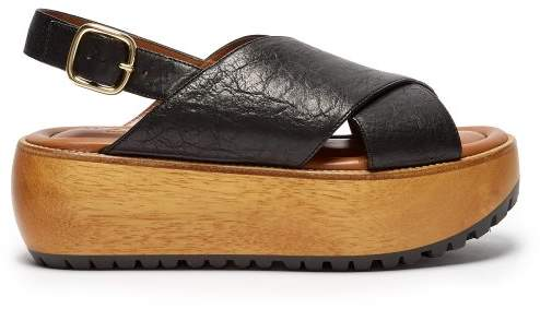 Marni Slingback Leather Flatform Sandals - Womens - Black