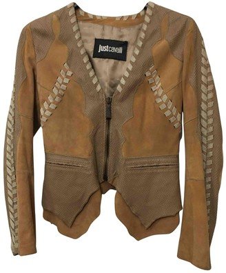 Just Cavalli Beige Suede Leather Jacket for Women