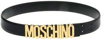 Moschino Men's Leather Logo-Buckle Belt