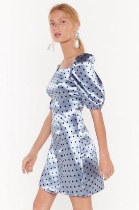 Nasty Gal Womens You're Lookin' Dot Satin Mini Dress - blue - 4