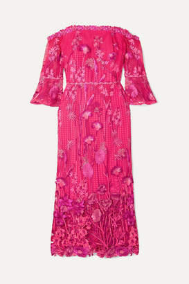 Marchesa Off-the-shoulder Guipure Lace Dress - Fuchsia