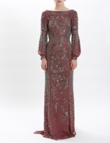 J. Mendel Rosewood Silk Chiffon Embroidered Foliage Embroidered Gown