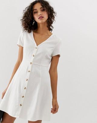 Vero Moda button front tea dress-White