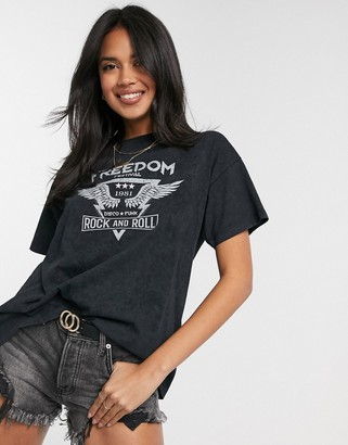 ASOS DESIGN oversized t-shirt with freedom rock graphic in wash