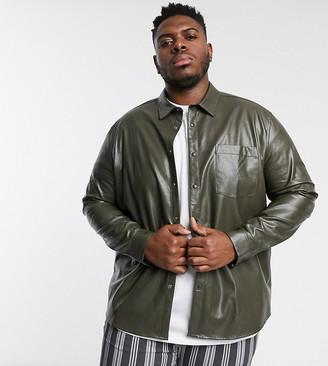 ASOS DESIGN Plus regular fit faux leather shirt in khaki