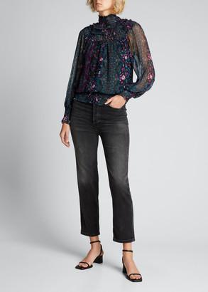 Ramy Brook Janie High-Neck Puff-Sleeve Printed Silk Blouse