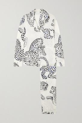 Desmond & Dempsey Jag Printed Organic Cotton Pajama Set - Cream
