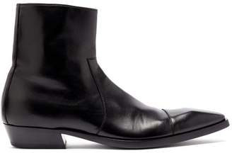 Vetements Square Toe Leather Ankle Boots - Mens - Black