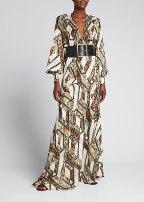 Bronx and Banco Patchwork Thigh-Slit Belted Gown