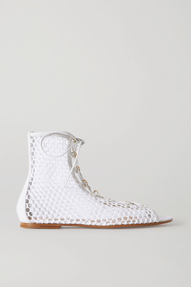 Gianvito Rossi Helena Leather-trimmed Fishnet Sandals - White