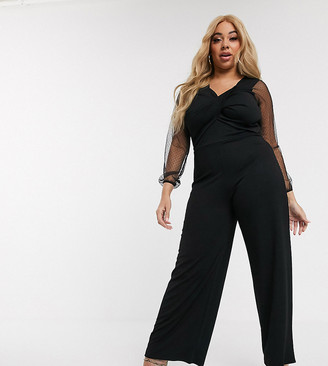 Pink Clove wide leg jumpsuit with twist front bodice and sheer sleeves