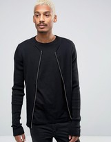 Selected Ribbed Zip Through Crew Neck
