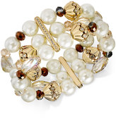 Charter Club Gold-Tone Imitation Pearl and Crystal Stretch Bracelet, Created for Macy's