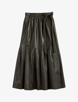Ted Baker Talker pleated leather midi skirt