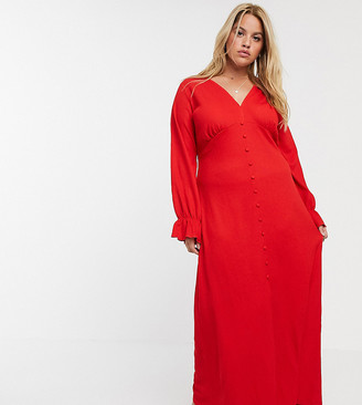 Asos DESIGN Curve long sleeve button through textured maxi dress