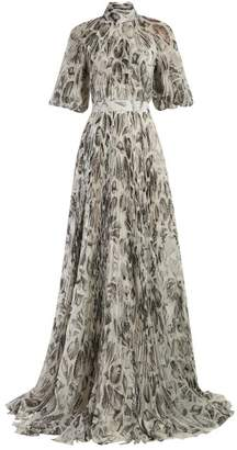 Alexander McQueen Shell-print Pleated Gown - Womens - White Black