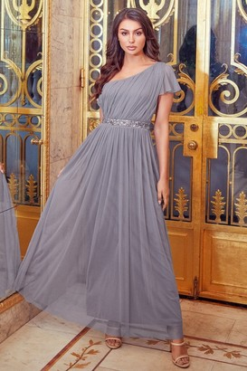 Sistaglam MARIAH GREY ONE SHOULDER SEQUIN BELT MAXI DRESS