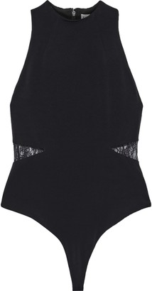Alice + Olivia Makeda Chantilly Lace-trimmed Stretch-crepe Thong Bodysuit