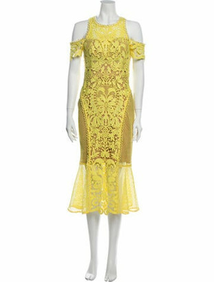 Thurley Lace Pattern Midi Length Dress w/ Tags Yellow