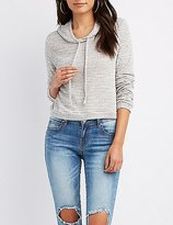 Charlotte Russe Striped French Terry Cropped Hoodie