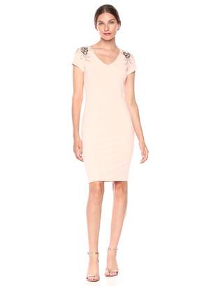 Calvin Klein Women's Short Sleeve V-Neck Sheath with Shoulder Embellishment