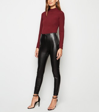 New Look Coated Leather-Look Zip Leggings
