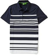 HUGO BOSS BOSS Green Paule 8 Slim-Fit Pleated Striped Short-Sleeve Polo Shirt