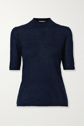 Gabriela Hearst Hugo Cashmere And Silk-blend Top - Midnight blue