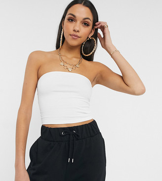 Asos Tall ASOS DESIGN Tall ultimate organic cotton crop bandeau top in white