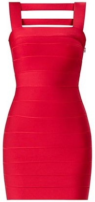 Herve Leger Icon Squareneck Cutout Back Mini Dress