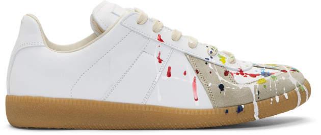 Maison Margiela White Paint Splatter Replica Sneakers