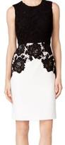 Calvin Klein Black Women's Size 6P Petite Lace Bodice Sheath Dress