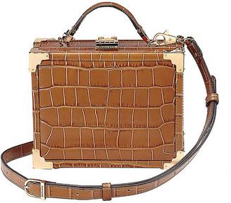 Aspinal of London Mini trunk crocodile-embossed leather shoulder bag