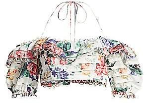 Zimmermann Women's Alla Floral Linen Crop Cold Shoulder Tiered Eyelet Top