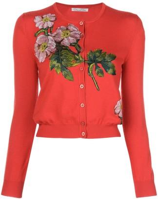 Oscar de la Renta Floral Embroidered Cardigan