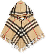 Burberry Victoria Hooded Check Cape, New Classic, Size M-L