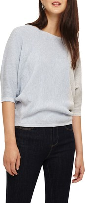 Phase Eight Cristine Colourblock Ripple Stitch Knitted Top, Blue/Ivory