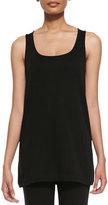 Joan Vass Scoop-Neck Cotton Interlock Tunic/Tank, Black, Plus Size