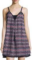 Dex Printed V-Neck Sleeveless Dress, Navy/Pink