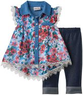 Little Lass Baby Girl Floral Lace-Trim Shirt & Jeggings Set