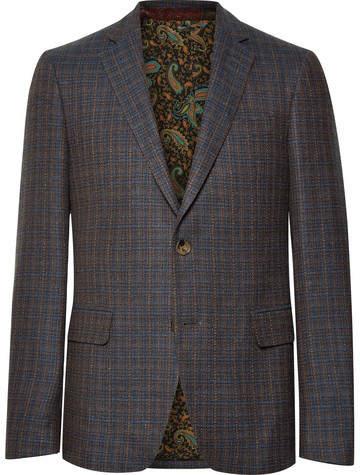 Etro Navy Slim-Fit Checked Wool, Cotton And Cashmere-Blend Blazer