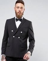 Asos Super Skinny Blazer In Black and White Polka