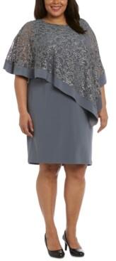 R & M Richards Plus Size Sequined Poncho Dress