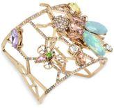 Betsey Johnson Gold-Tone Multi-Stone Garden Motif Cuff Bracelet