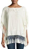 French Connection Raquel Embroidered Fringe Top, Classic Cream
