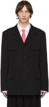 Yohji Yamamoto Black Shoulder Belted Jacket