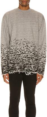 John Elliott Burn Out Mock Neck Sweatshirt in Grey   FWRD