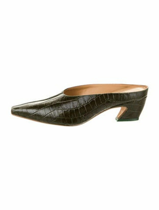 Miista Patent Leather Animal Print Mules Green