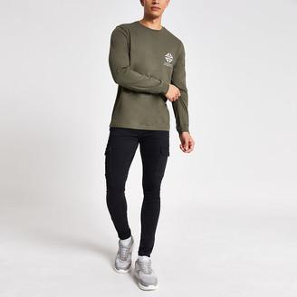 River Island Khaki printed long sleeve slim fit T-shirt